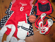 """Complete Basketball Outfit for 18"""" Doll including shoes, ball and bag NEW"""