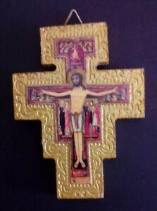 Crocifisso da parete in legno dorato San Damiano 9,3 x 7,3 x 0,9 cm (253)