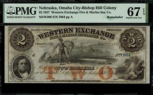 1857 $2 Obsolete - Nebraska Omaha City Western Exchange Fire & Marine PMG 67 EPQ