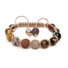 Shamballa bracelet Tigers Eye Pave Crystal Pyrite Agate Silver Om Prayer Bead