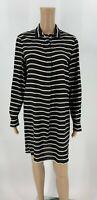 Madewell Womens Dress Size M Black White Stripe Popover Tunic Shift Silk F6