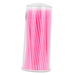 100pcs Micro Brushes Swabs Tattoo Microblading Disposable Applicator Pink