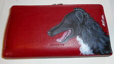 Borzoi Russian Wolfhound dog Hand Painted Designer Leather Wallet for Women