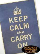 "Vintage Style Paper Poster Good Gifts,16"" x 11"" KEEP CALM AND CARRY ON (BLUE)"