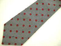 Turnbull & Asser Mens Necktie Tie Navy Blue Grey Red Houndstooth Plaid Polka Dot