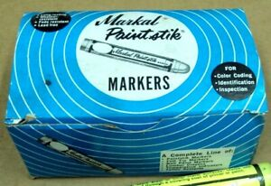 Vtg Box / 12 MARKAL PAINT STIK MARKERS For Cold Surfaces ~ YELLOW FAST DRY