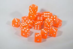 Orange 20 Transparent w/ White Pip Bunco Gaming Dice set 16mm D6 Yahtzee Quality