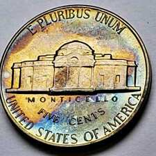 1966-P JEFFERSON NICKEL SMS PROOF TONED NEON BLUE COLOR UNC BU FLAWLESS (DR)