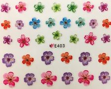 Nail Art 3D Decal Stickers Vivid Multicolored Flowers E403