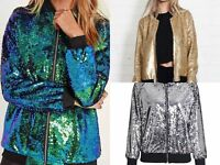 Womens Sequin Glitter Bomber Jacket Top Biker Festival Clubbing Party Club Wear