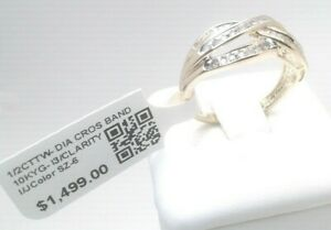 $1500 1/2CTTW Natural Diamond Engagement CROSSOVER band Ring! Solid Yellow Gold