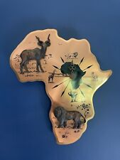 Vintage Retro African Continent Wall Clock Copper 3D Animals Africa