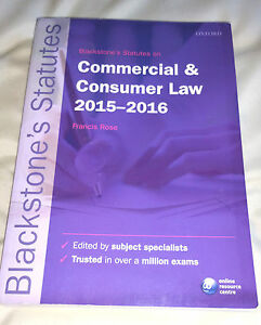 Blackstone's Statutes on Commercial & Consumer Law: 2015-2016 by Oxford Universi