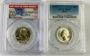 1976-S Silver Quarter PCGS MS67 History in Your Hands 2 Coin Set