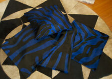 PURE GLAMOUR! BLACK ZEBRA PRINT ON DEEP ROYAL BLUE 40CM SQ COWHIDE CUSHION COVER