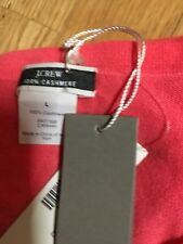 "J. Crew Featherweight NWT 100% Cashmere Cardigan Sweater Size Large ""Neon Rose"""