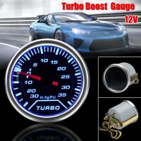 2'' 52mm Universal Car Blue LED Turbo Boost Gauge PSI Dials Vaccum Press Pointer