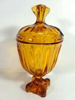 Vintage Amber Glass Pedestal Candy Dish with Lid