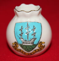 A & S Arcadian China - Crested Ware - Miniature bulbous vase - Burntisland - vgc