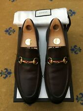Gucci Mens Shoes Brown Leather Web Horsebit Loafers UK 7 US 8 EU 41 Green Red
