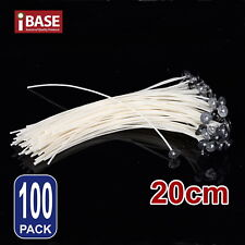 100x Candle Wicks Wick Pre Waxed Tabs Low Smoke Sustainers Cotton Core Holder