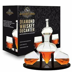 Diamond Whiskey Decanter With 2 Diamond Glasses Mahogany Wooden Holder