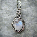 Vintage Silver Moonstone Necklace Pendant For Women Party Jewelry Xmas Gift