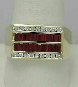 Men's Engagement & Wedding Channel Set Ring 2.15 Ct Ruby 14K Yellow Gold Plated