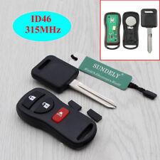 Remote Key Fob 46 Transponder Chip Key 315MHZ For Nissan KBRASTU15 3 Button