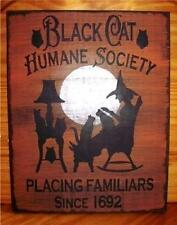 Primitive witch sign Black cats Humane Society halloween witchcraft witches cat