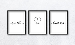 Sweet Dreams with Heart Quote Wall Art Print Poster x3. Bedroom Home Decor Sleep