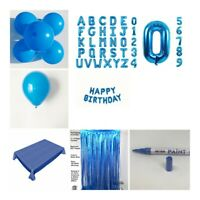 Blue Happy Birthday Bunting Balloons Party Tablecloth Decorations Banner Baby