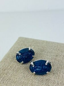 Christian Dior Vintage Blue Large Oval Textured Gem 925 Silver Clip On Earrings