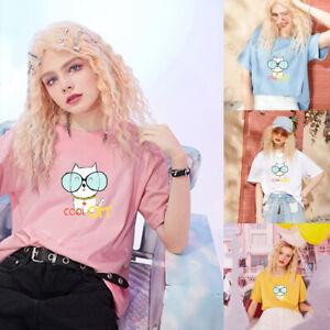 Cartoon print Short-sleeve tees girl style Top women's cotton much colour clothe