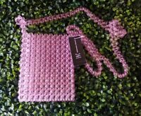 Inc International Concepts Clear Fuchsia Beaded Crossbody Shoulder Bag New
