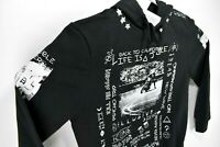 NEW Eleven Paris Mens Black Graphic Pullover Hoodie Large Slim Fit Rare Size L