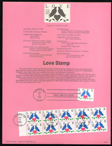 US. SP872. 2440,  2441a Single & Booklet of 10. Love Stamp. Souvenir Pages. 1990