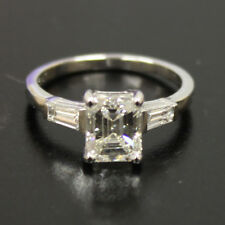 Platinum Emerald Cut Diamond Ring GIA Certified Engagement Ring 1.50 Carat