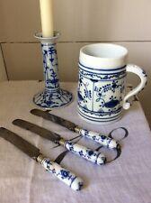 Royal Copenhagen Blue Flutes 3knifes, Blue Fluted Mug & Candlestick Holder Bundl