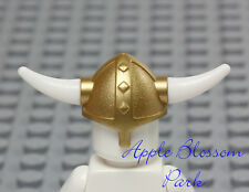 NEW Lego Castle Minifig GOLD VIKING HELMET - Hat w/White Spiked Weapon Horns