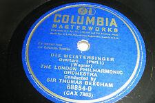 """BEECHAM 12"""" 78 WAGNER Die Meistersinger Overture pt 1 & 2 Columbia 68854-D EX"""