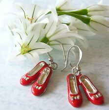 THE WIZARD OF OZ Ruby Slippers Shoes Enamel Charm Inspired Earrings Costume New