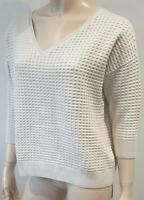 UTERQUE Women's Cream Mulberry Silk & Cotton Waffle Pattern Jumper Sweater Top S