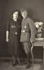 WWII German Army Large RPPC- Soldier- Uniform- Hat- Military Sports Badge- Frau