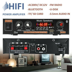 800W HiFi bluetooth Power Amplifier Car Home Stereo Audio 2 Channel USB FM AUX