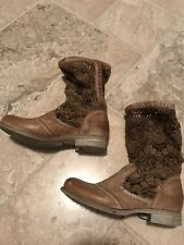 Bunker Boots Free People Sz 6.5 Crochet Lace Embroidered Tan Leather Slouch Boot