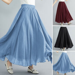 ZANZEA Women Elastic Waist Casual Long Maxi Skirts Waterfall Holiday Party Skirt