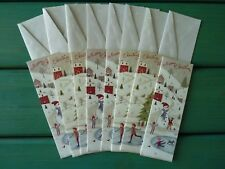 Christmas Greeting Cards For Anyone Set of (8) Winter Village Scene Unused