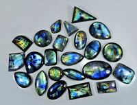 NATURAL MULTI FLASH LABRADORITE MIX SHAPE CABOCHON LOOSE GEMSTONE WHOLESALE LOT