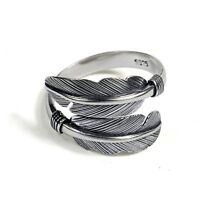 Sizable Solid 925 Sterling Silver Thick Mens Unisex Angel Feather Wing Ring UK